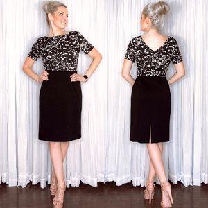 Tahari Black White Pattern Professional Dress